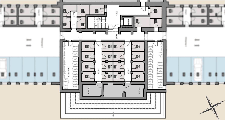 Hauptgebäude Parkplätze